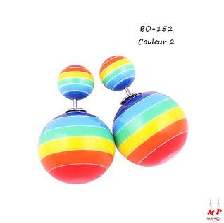 Boucles d'oreilles double perles boules rayées multi-couleurs
