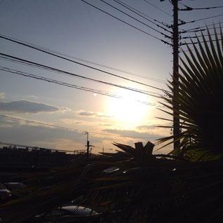 休憩中の夕陽が綺麗でした。