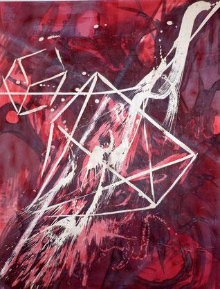 ohne Titel: 116 * 98 cm (französisches Format)- Acrylmalerei/ Wachsreserviertechnik -2012