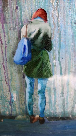 Heike Ludewig grün Frau Gemälde