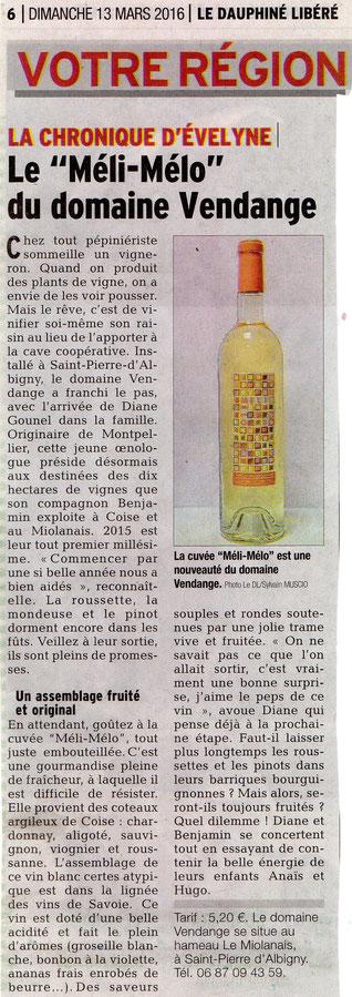 Domaine Vendange Vins de Savoie - article Dauphiné Libéré mars 2016
