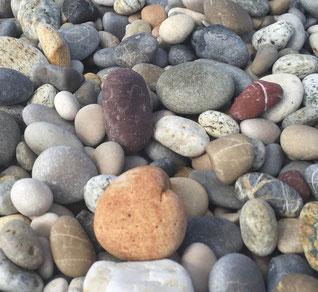 Verschiedenartige, meist abgerundete Steine in vielen Größen am Strand. Bild: Claudia Pichler Mediation Salzburg