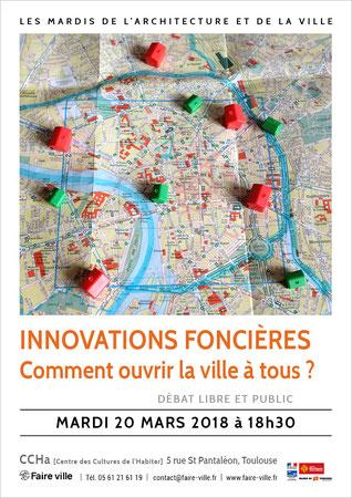 """© Faire-ville - Affiche du débat """"Innovations foncières"""" du 20 mars 2018"""