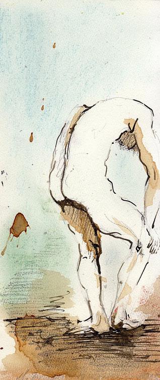Daniel M. : 10 x 28 cm. Bleistift, Tusche, Aquarell, Pastell. 2015.