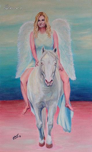 """""""Engel die uns begleiten"""", Acryl auf Leinwand, 68x42"""