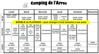 planning activité - Camping gers Arros