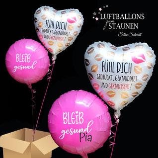Luftballon Ballon Bouquet Strauß Corona Muttertag Versand verschicken Geschenk Überraschung Mitbringsel Folienballon Latexballon Heliumballon Ständer Deko Tischdeko Versand