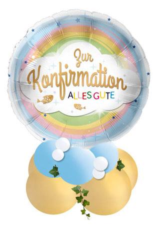 Ballon Luftballon Folienballon Geschenk Geschenkballon blau Regenbogen Zur Konfirmation alles Gute religion religiöse Feier Deko Dekoration Tisch Tischdeko Versand Mitbringsel Überraschung Geldgeschenk