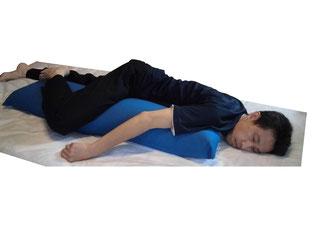 集中治療室で、人工呼吸器使用時にとるシムス姿勢(前傾側臥位)を簡便に、安定して調整できます。クッション部分につながったシートを身体の下に敷くことにより、クッションがずれにくく体幹が安定します。体位変換時の側臥位クッションとして利用できます。