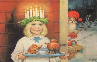 """""""Jul Nisse och lucia dag"""" von Carl Larsson"""