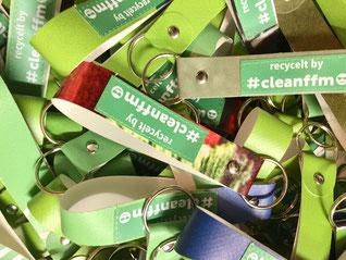 Müllvermeidung Kampagne Stadt Frankfurt, mit Upcycling Schlüsselanhängern ein alternatives Zeichen gegen die Wegwerfgesellschaft setzen.