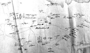 Handgezeichnete Karte von Rollesbroich um 1850