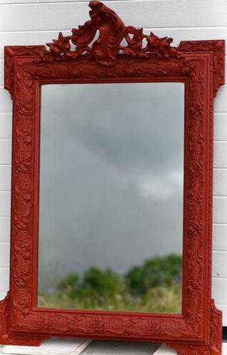 Miroir ancien patine rouge