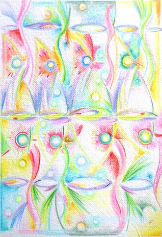 vagues, severine saint-maurice, lescerclesdelumiere;com, art, dessin, crayons de couleur