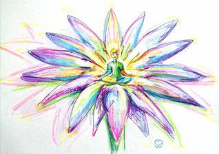 severine saint-maurice, lescerclesdelumiere.com, dessin intuitif, fleur, mandala, spiritualité, crayons de couleur