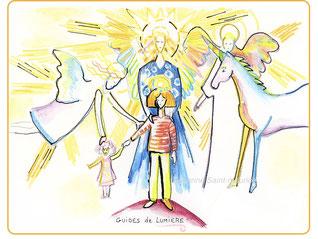 severine saint-maurice, les cercles de lumiere, illustration bien-être, dessin bien -être, dessin spiritualité, vente achat dessin peinture, oeuvre originale, illustration enfant, papier canson,  guides de lumiere, licorne