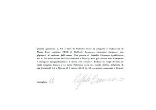 colophon numerato e firmato con stampa a secco e in nero