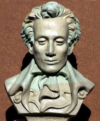 Busto di Giacomo Leopardi, di Edgardo Mugnoz