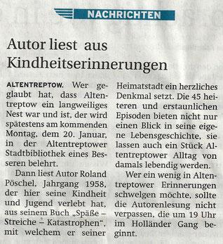 2014, 18/19. Januar, Vorankündigung - Zeitungsartikel des Nordkurier, Treptower Tageblatt, Seite 17