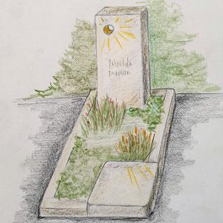 Zeichnung eines hellen Grabsteins