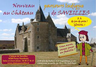 """Affiche du parcours ludique """"Pierre t'invite...""""- Château fort Charente - Château de Saveilles - Saveille - Château en Charente - Visite guidée groupe - Visite guidée famille - Visite charente"""
