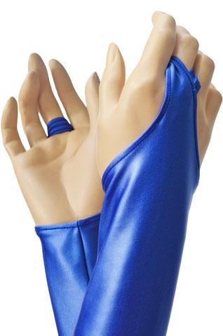 Wetlook Handstulpen mit Mittelfingerschlaufe royalblau