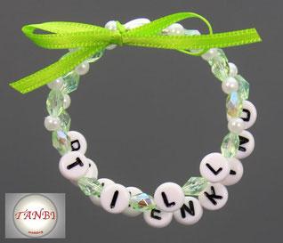 Armband-Blumenkind-Namensarmband-Kinderarmband-Kind-Kinder-Blumenjunge-Blumenmädchen-grün-weiß
