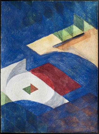 francois beaudry gouache et aquarelle peinture nature morte série table bleue étude 7