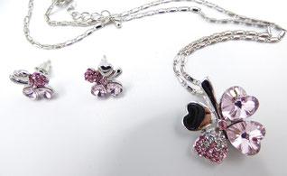 parure femme en cristal autrichien rose cadeau femme saint valentin
