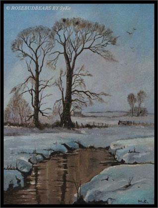 Winterwetter von meinem Schwager gemalt - Ölgemälde by Maurice Carver/Gerrards Cross