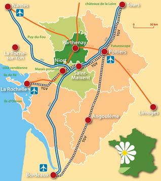 Carte de la Gâtine-Poitevine au cœur du département des Deux-Sèvres
