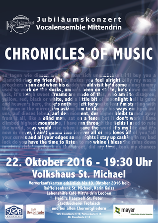 Vocalensemble Mittendrin, Chronicles of music, Jubiläumskonzert, Volkshaus St. Michael, St.Michael, Konzert, Volkshaus, 20 Jahre,  Jubiläum, #Vocalensemble Mittendrin, #Chronicles of Music, Chor, Chorkonzert, a cappella, Rock, Pop