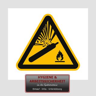 Schild Warnung vor Gasflaschen