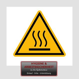 Warnschild heiße Oberfläche