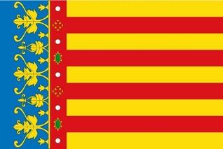 Bandera o Senyera del Reino de Valencia y hoy de la Comunidad Valenciana.