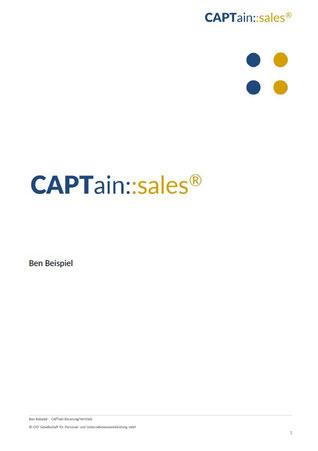 Titelblatt Auswertung CAPTain::sales®; Der CAPTain Test® für den Vertrieb; Misst umfassend, objektiv und präzise die für den Vertrieb notwendigen Verhaltenskompetenzen; Potenzialanalyse, Persönlichkeitstest, Vertriebstest, Erfolg, Leistung, Steigerung