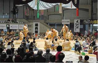 ちびっこ相撲に会場から拍手が沸いた=16日、宜野湾コンベンションセンター