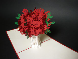 Carte Pop-Up bouquetée roses rouges - Carte kirigami roses rouges - Carte Saint Valentin - Faire-part Mariage