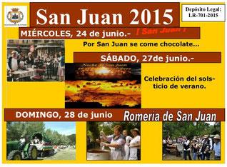 Cartel y programa de las Fiestas de San Juan 2015 en Arnedo