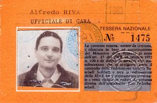 Nella foto allargabile il cartellino di Alfredo Riva che divenne Presidente del CNUG nel 1979