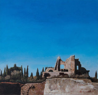 David Marcelli, Scorcio di Villa Adriana (acrilico su tela 50x50)