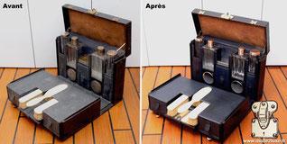 Nécessaire de toilette Louis Vuitton, travail du sellier gainier par excellence. Même si on parle de restauration, il s'agit en réalité d'un nettoyage en profondeur des cuirs.