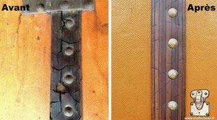 Malle secrétaire Louis Vuitton de 1915, le cuir est une matière vivante, qui déteste l'humidité et la chaleur. Les ceintures périphériques du bagage sont totalement craquelées