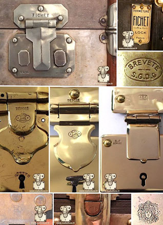 symbole sur serrure de malle ancienne en bronze brevet déposé fermoir vintage