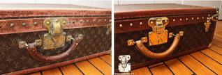 valise alzer Louis Vuitton de 1990 poignée cassé détruite pas l'humidité d'une cave