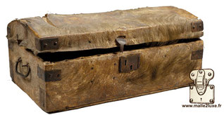 Anonymous trunk, rural manufacture, circa 1850 Wood, goatskin, steel