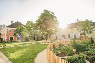 Stiegl-Gut Wildshut-Gutsansicht mit Garten, Hochzeit