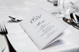Menü für die Hochzeit - Hochzeitspapeterie