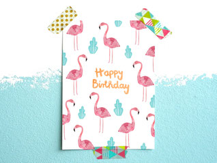 Geburtstagskarte *Happy Birthday* mit Flamingo