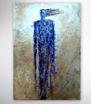 Bild, Gemälde, XXL, großformatig, Türkis,Weiß, Bunt, gespachtelt, Strukturen, Landschaft, Original, Unikat, figurativ, Menschen, Figuren,